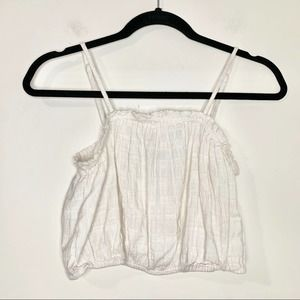 AERIE Ivory Cottagecore Cinched Crop Top